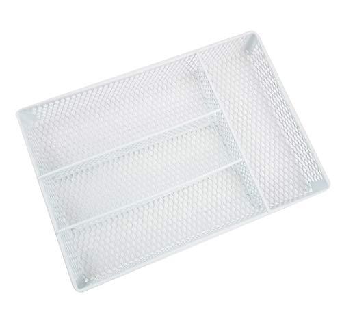 - Homz Metal Mesh, White, 4 Compartments, Fits Most Standard Size Kitchen Drawer Organizer,