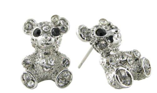 Chicago Cubs Logo Crystal - Cute Teddy Bear Rhinestone Stud Earrings - Clear and Black Crystals