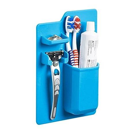 SODIAL Organizador de bano de silicona Porta cepillo de dientes Soporte de pasta de dientes de silicona para Cuarto de bano De espejo: Amazon.es: Hogar