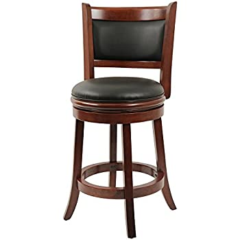 Amazon.com: Adeco Walnut-Color Wood & Leatherette Barstool