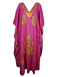 Mogul Womens Pink Kaftan Floral Embroidery Kashmiri Cover Up Caftan