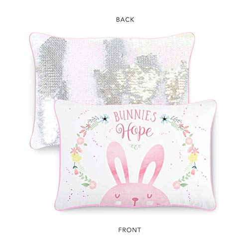 (Hope Bunny Kids Pillow with Reversible Iridescent & Silver Color-Changing Mermaid Sequins )