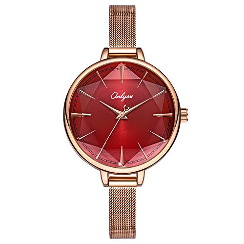 ONLYOU Women Watches Stainless Steel Mesh Band Luxury Quartz Watch Girls Ladies Big Face and Thin Strap Wristwatch (Rose Gold&Red)