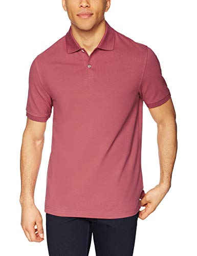 (Amazon Essentials Men's Slim-Fit Cotton Pique Polo Shirt, Washed Red, Medium)