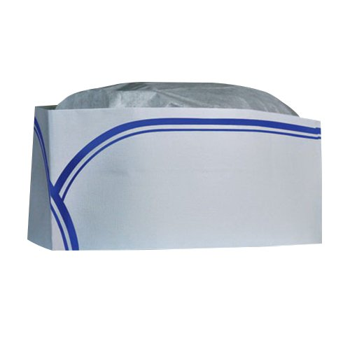 CELLUCAP RC100 Low Profile Overseas/Soda Jerk Hat, Tissue Crown, BLUE STRIPE, Box of 100 -