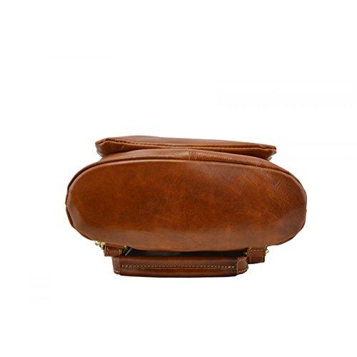 Zaino Tracolla In Vera Pelle Colore Cognac - Pelletteria Toscana Made In Italy - Zaino