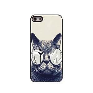 YULIN caso duro del patrón de gato de aluminio para el iphone 5 / 5s