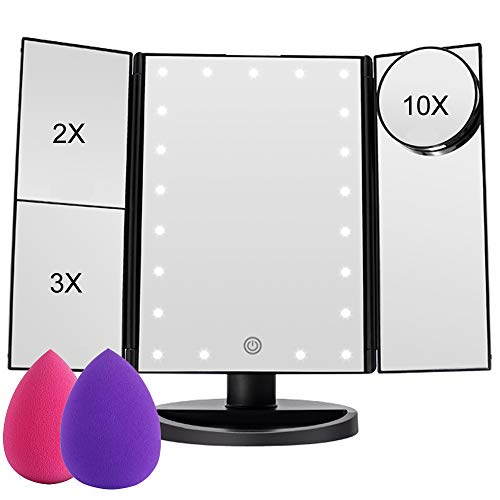 Lighted Makeup Mirror, COSMIRROR Trifold Makeup Vanity Mirror with 21 LED Lights -