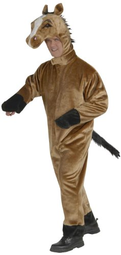 Forum Novelties Men's Deluxe Plush Horse Mascot Adult Costume, Brown, (Full Horse Costume)