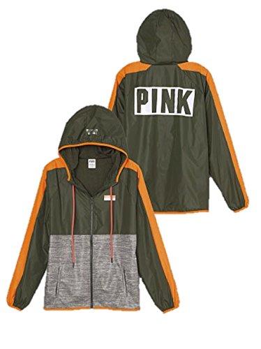 Victoria's Secret Women's PINK Full -Zip Hoodie Anorak Jacket Medium/Large Khaki/Marl Heather Grey