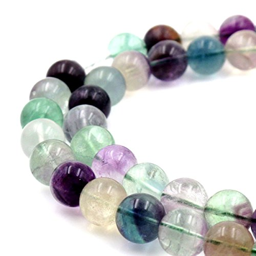 - jennysun2010 Natural Rainbow Fluorite Gemstone 6mm Smooth Round Loose 60pcs Beads 1 Strand for Bracelet Necklace Earrings Jewelry Making Crafts Design Healing