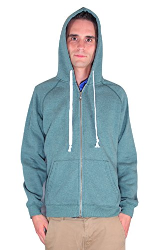 Men's Full Zip Fleece Hooded Hoodie Sweatshirt By Rejawece (Medium, Green