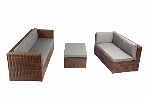 Baner Garden K35-BR 4 Pieces L Shaped Outdoor Furniture Patio Sectional Wicker Rattan Garden Corner Sofa Couch Set, Full, Brown - Quality - Baner Garden outdoor furniture is built for comfort With deep seating supported by rust resistant steel frames Handwoven - each piece is meticulously woven with high grade PE Rattan wicker and is a patio Furniture staple for any porch, patio, pool or sunroom Low maintenance - All weather Wicker and Cushions only require minor spot cleaning with a damp rag, water, and mild soap for endless beauty season after season - patio-furniture, patio, conversation-sets - 41K5 WcuSdL -