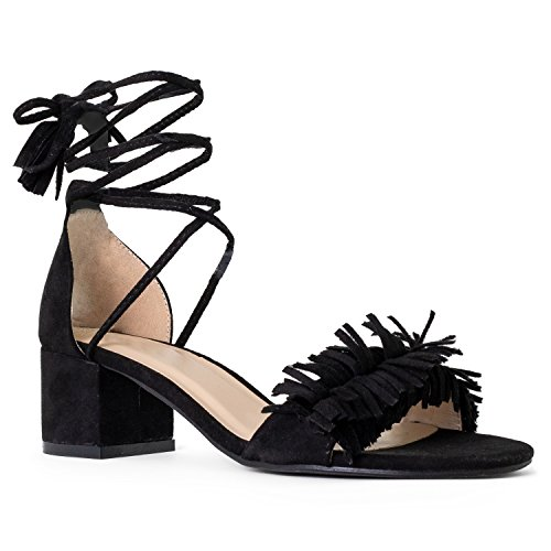 (RF ROOM OF FASHION Women's Open Toe Fringe Decor Ankle Wrap Around Block Heel Sandals Black Size.6.5)
