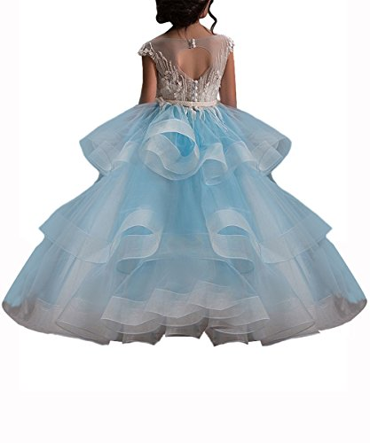 WDE Long Blue Little Girls Pageant Dresses for Wedding Kids First Communion Prom Ball Gown Size 6