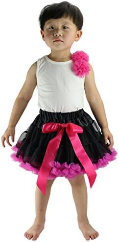 Wennikids Girls Tutu Chiffon Petticoat Pettiskirt Set with Flower Hair Band