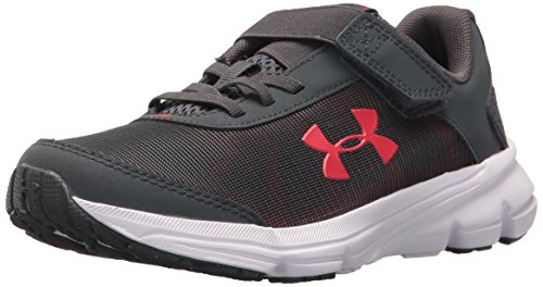 (Under Armour Boys' Pre School Rave 2 Adjustable Closure Sneaker, Stealth Gray (100)/Red, 11K)