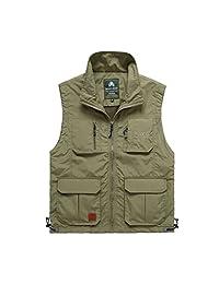 Casual Gilet ,Men's Vest Jacket Outdoors Quick-Drying Waterproof Travel Sports Pockets Vest Waistcoat Outerwear Sports Jacket 2018 3, Size : XXXL