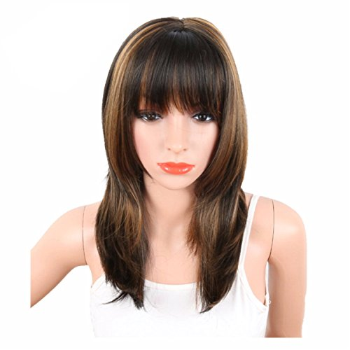 Search : COPLY 20INCH Women's Black Mix Brown Heat Resistant Synthetic Wigs African American Hair With Bangs