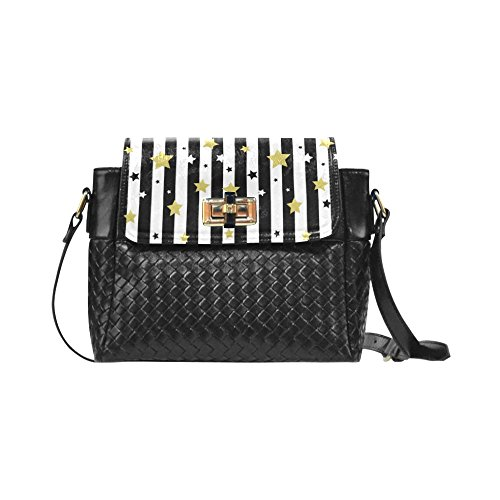 Fashion Women And Girls Black White And Gold Stars Patterns Woven Leather Crossbody Bag/shoulder Bag/tote Bag For Women Girls Cr-47 Unique Debora