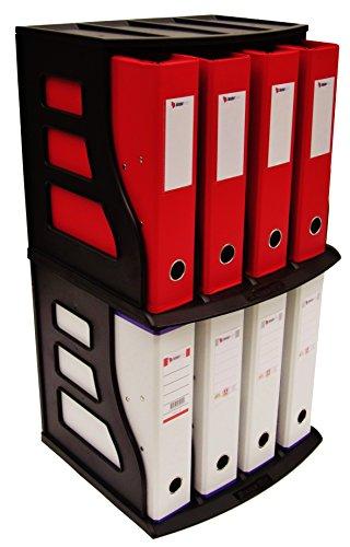 Stackable Vinyl Record Storage Rack 12'' LP Holder Organizer Over 75 Albums Ring Binder Stand Lever Arch Crate 12x12 Paper Storage Rack Magazine Holder Shelf Cube Box by Binder Way (Image #4)