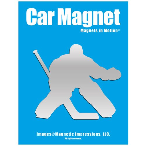 (Ice Hockey Goalie Car Magnet Chrome)