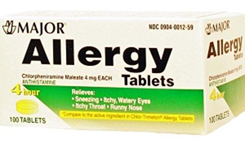 ALLERGY 4MG TAB CHLORPHENIRAMINE MALEATE-4 MG Yellow 100 TABLETS UPC 309040012593 by Major (Chlorpheniramine 4mg Tabs)