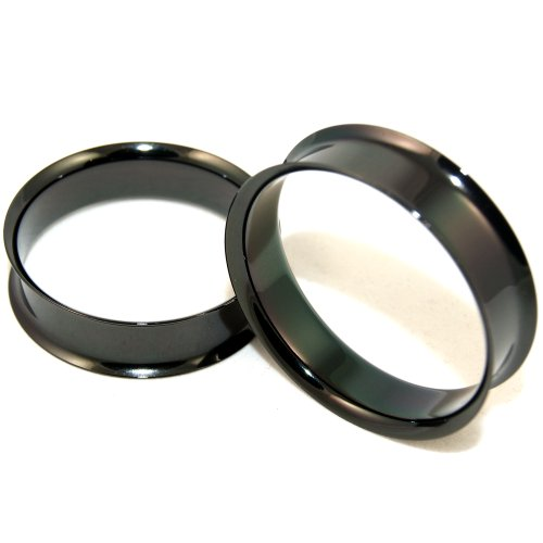 Anodized Black Sugical Steel Double Flare Tunnles Plugs Earlets 1-1/2 Inch 38mm 1 Pair ()