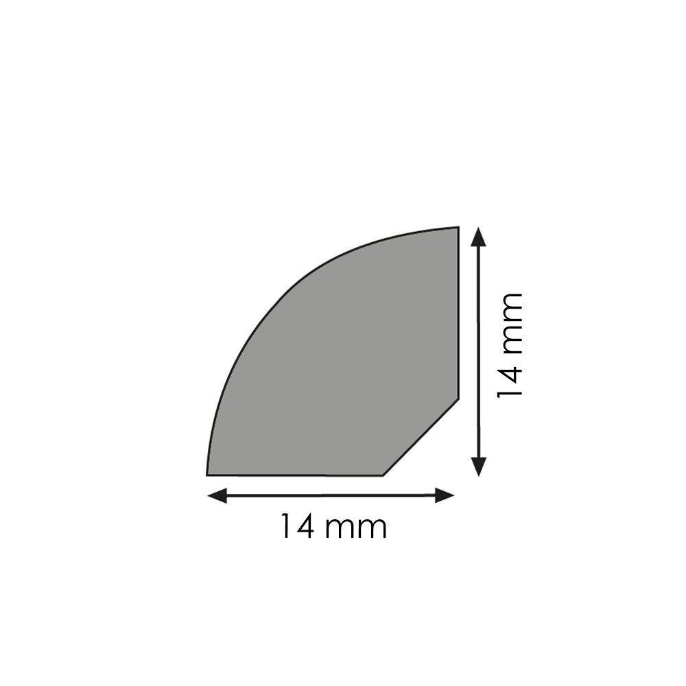 Viertelstab Bastelleiste Abschlussleiste Abdeckleiste aus Kunststoff in Rustikal 2500 x 14 mm