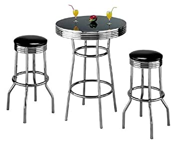 Captivating Retro 3 Piece Chrome Bar Stools And Table Set