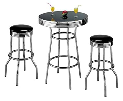 Retro 3-Piece Chrome Bar Stools and Table Set  sc 1 st  Amazon.com : bar table stool set - pezcame.com