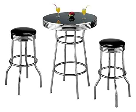 retro 3piece chrome bar stools and table set