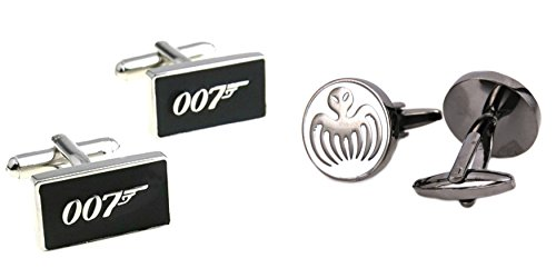 Superheroes James Bond 007 and Spectre Logos (2 Pair) Cufflinks (James Bond Girl Costumes Halloween)