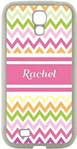 """Rikki KnightTM \""""Rachelle\"""" Name - Cute Pink Owl on Branch with Personalized Name Design Samsung\xae Galaxy S4 Case Cover (Black Hard Rubber TPU with Bumper Protection) for Samsung Galaxy S4"""