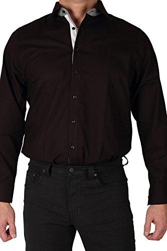 MARVELiS Hemd, Body Fit, Schwarz mit ausgeputzten Kragen