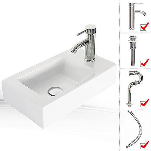 Eclife 18-3/8'' 1.5 GPM Wall Mount White Ceramic Sink Bathroom Rectangle With Chrome Faucet With Pop Up Drain P Trap T02 by Eclife