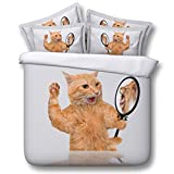 Cute funny cat 3d series bedding - duvet cover and pillowcase, bedroom three-piece bedding (duvet cover + 2 pillowcases), high quality, Prevent moisture, hypoallergenic, Twin, Queen bed