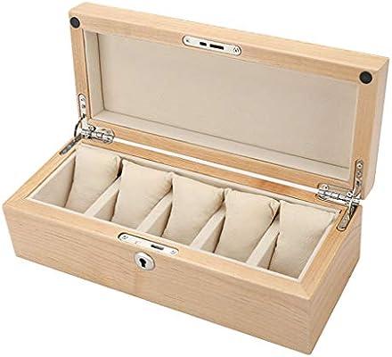0LL 5 Compartimentos para Coleccion y Almacenamiento Estuche Caja para Reloj Caja de Reloj Madera Joyería para Guardar Relojes en el Hogar, Viajes, Negocios (Color : A): Amazon.es: Hogar