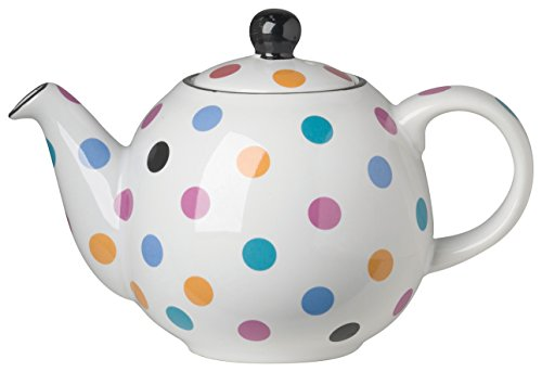 London Pottery Medium Globe Teapot, 6 Cup Capacity, White with Multicolored Polka Dots