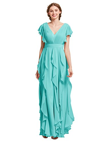 AW Bridal Plus Size Bridesmaid Dresses for Women Formal Dresses with Sleeves Chiffon Long Gowns and Evening Dresses, Tiffany, US18