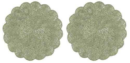 Cotton Craft - 2 Pack Beaded Placemat Set - Scalloped Round Hand Beaded Charger Placemat - Silver - 14 Inches Round - Hand Made by Skilled artisans - A Beautiful complement to Your Dinner Table décor]()