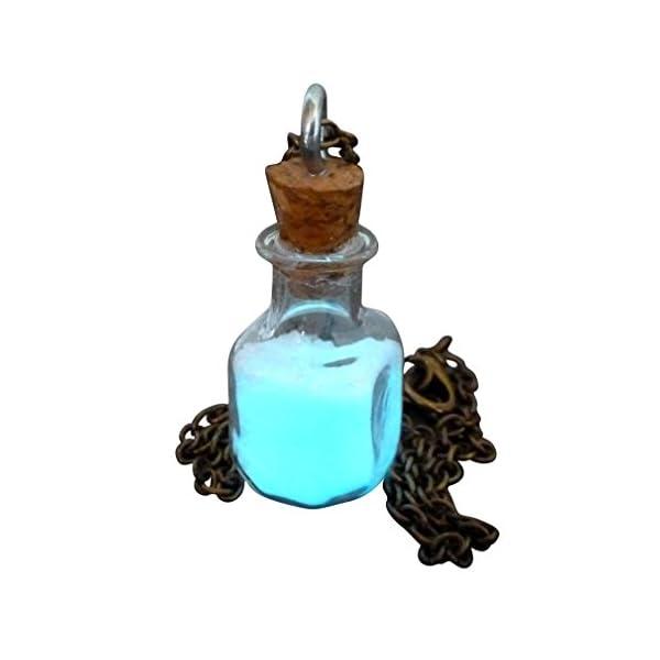 Steampunk Necklace Magic Fire Fairy Angel Dust Pendant Charm Glow in The Dark Kawaii Pixie 6