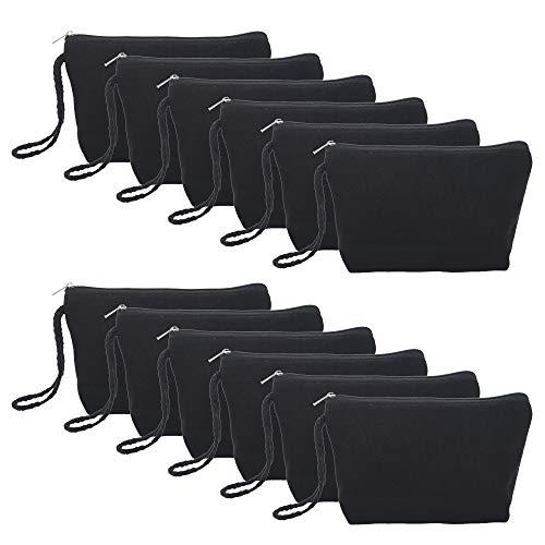 - Aspire 12-Pack Black 100% Cotton Canvas Makeup Bags 7 1/2
