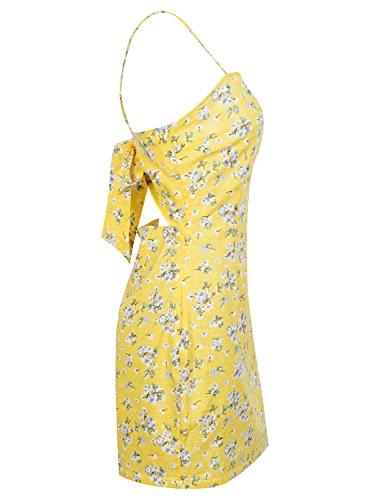 Mini Bow Floral With Simplee Off Strp Shoulder Spaghetti Apparel Print Dress Women's qZwTq0v