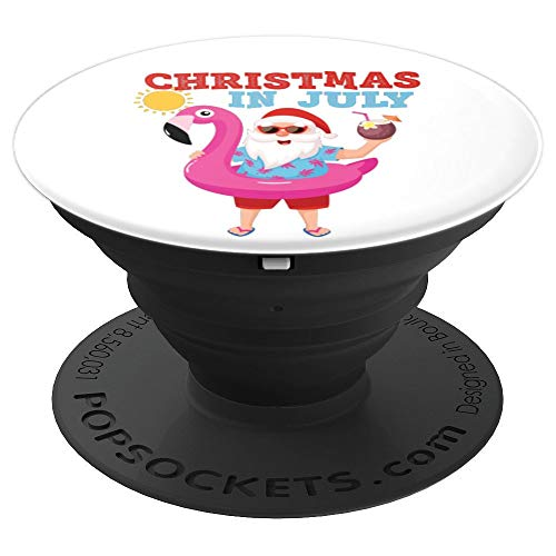 Christmas In July Santa Pink Flamingo Drinking Cocktail PopSockets Grip and Stand for Phones and Tablets