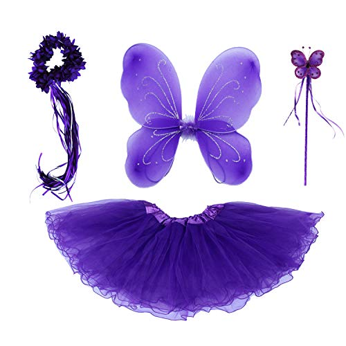 4 PC Girls Fairy Monarch Princess Costume Set with Wings, Tutu, Wand & Halo (Purple -