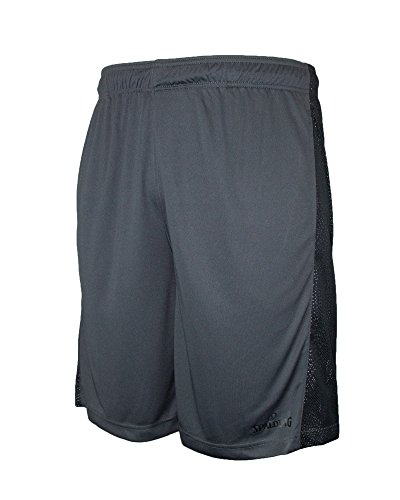 Spalding Mens Active Performance Athletic Workout Shorts with Reflective & 2 Side Seam Pockets Grey Large