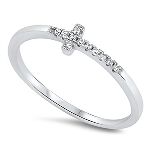 Prime Jewelry Collection Sterling Silver Women's Colorless Cubic Zirconia Micro Pave Sideways Cross Ring (Sizes 4-10) (Ring Size 5)