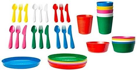 Juego de cubiertos de plástico de 36 piezas para niños, 6 cuchillos, 6 tenedores, 6 cucharas, 6 platos hondos, 6 platos y 6 vasos, IKEA, varios, 72 ...
