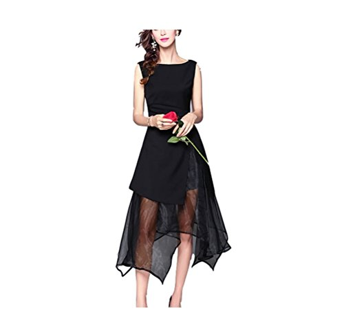 Abito cocktail estate sexy tulle maniche Oudan da con lunghe asimmetriche in Nero party da donna fEndAq